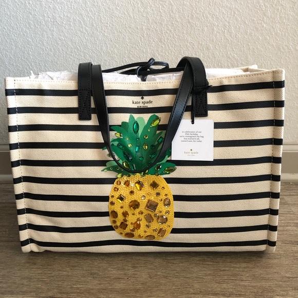 4ffbf5ead kate spade Bags | New York Pineapple Striped Canvas Tote | Poshmark